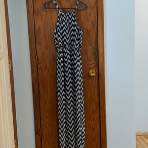 **3/12.00*Navy and white Maxi dress